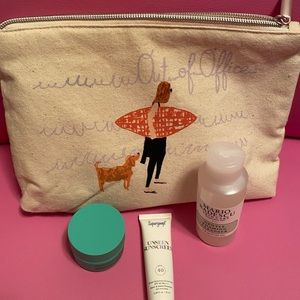 NEW Anthropologie cosmetic bag and samples